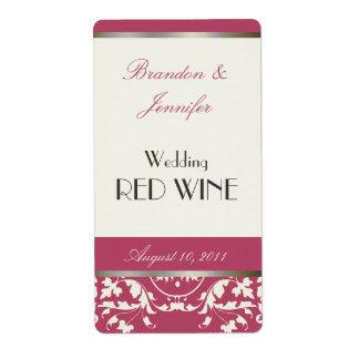 Mini etiquetas del vino del boda rosado y poner cr etiqueta de envío