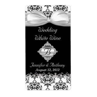Mini etiquetas elegantes del vino del boda negro y etiqueta de envío