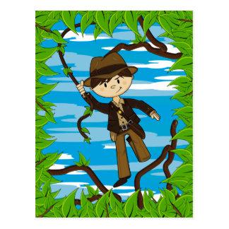 Mini explorador en la postal de la vid de la selva