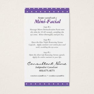 Mini Facial Instruction Card
