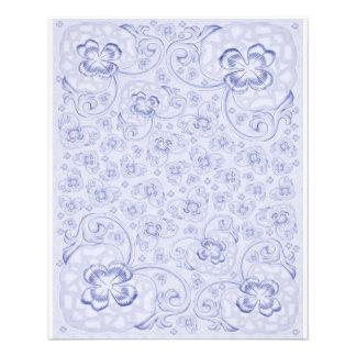 "Mini floral azul en colores pastel de papel de dob folleto 4.5"" x 5.6"""