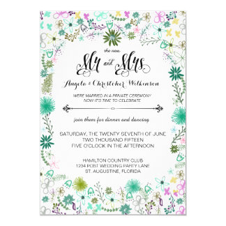 "Mini Flowers Reception Only Post Wedding Invite 5"" X 7"" Invitation Card"