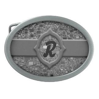 Mini fondo de la caja del falso cromo hebillas cinturón ovales