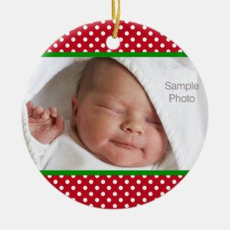 Mini foto blanca roja del bebé del navidad de los adorno redondo de cerámica
