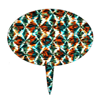 Mini Fractal Art Peacock Colors Pattern Stylish Cake Toppers