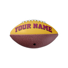 Mini GOLD AND BURGUNDY Personalized Football at Zazzle
