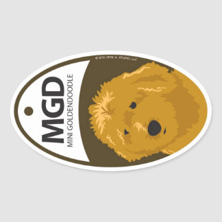 Mini Goldendoodle 1 Oval Sticker