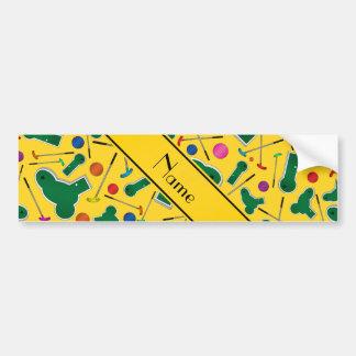 Mini golf amarillo conocido personalizado etiqueta de parachoque