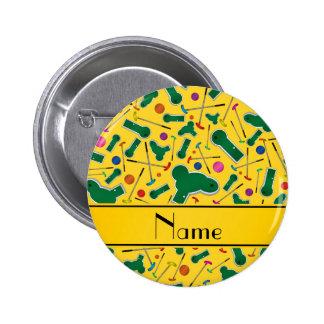Mini golf amarillo conocido personalizado pin redondo de 2 pulgadas