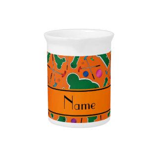 Mini golf anaranjado conocido personalizado jarra