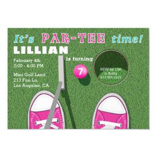 Mini Golf Par Tee Putt Girls Birthday Invitation