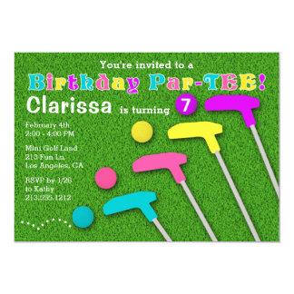 Mini Golf Putt Putt Girl Birthday Party Invitation