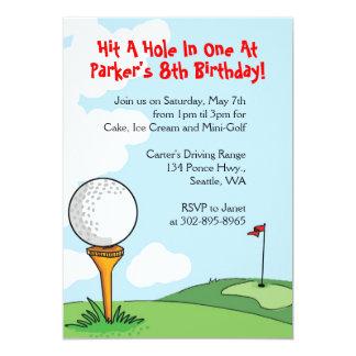 Mini-Golf themed birthday party invitations
