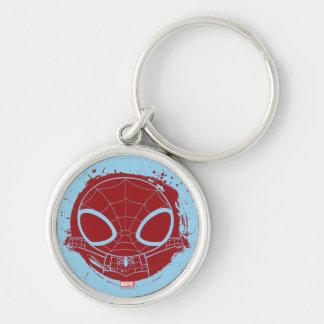 Mini gráfico del Grunge de Spider-Man Llavero Redondo Plateado
