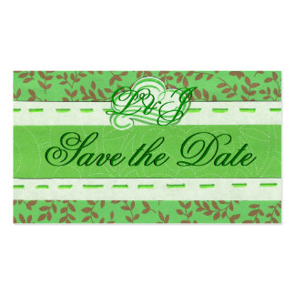 Mini Green Save the Date card Double-Sided Standard Business Cards (Pack Of 100)