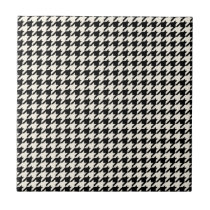 Mini Houndstooth Pattern Black and Cream Ceramic Tile