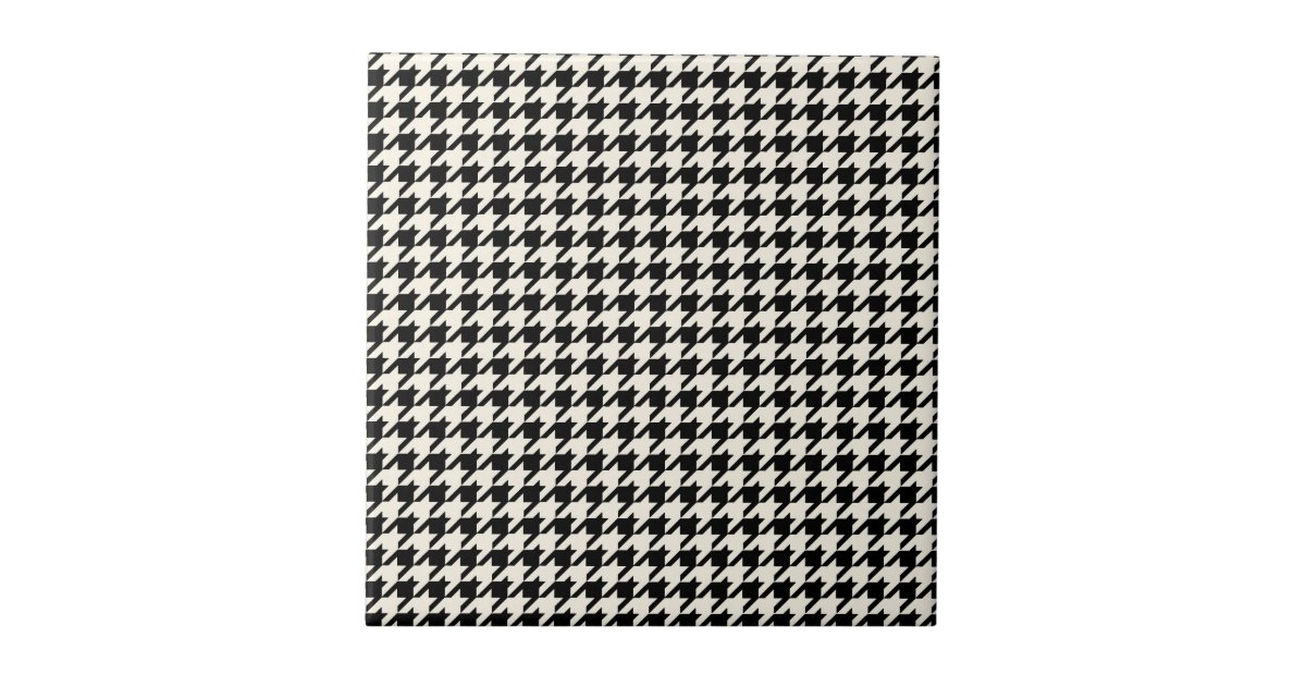 Mini Houndstooth Pattern Black And Cream Ceramic Tile Zazzle
