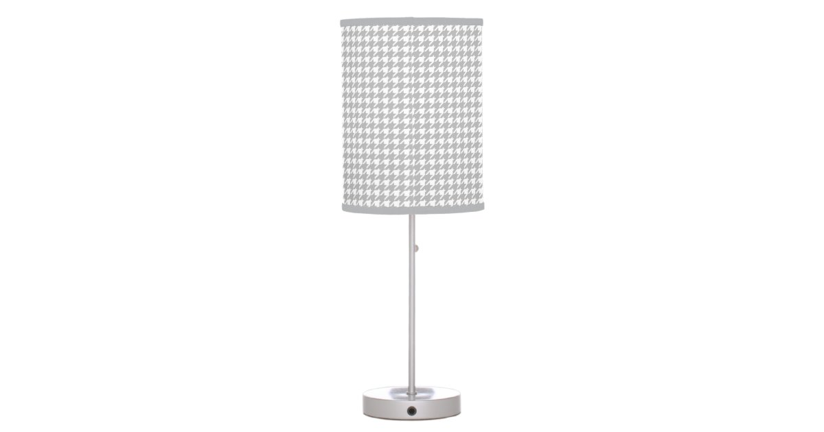 Mini Houndstooth Pattern Grey And White Table Lamp