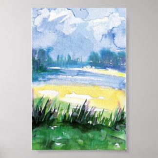 mini impresión del paisaje de la acuarela póster