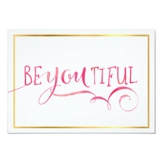 MINI INSPIRATION CARD be-you-tiful typography pink