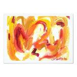 Mini invitación abstracta de la pintura invitación 12,7 x 17,8 cm