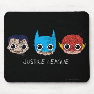 Mini Justice League Heads Sketch Mouse Pad