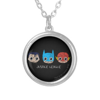 Mini Justice League Heads Sketch Silver Plated Necklace