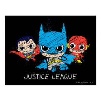 Mini Justice League Sketch Postcard