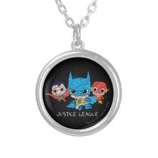 Mini Justice League Sketch Silver Plated Necklace