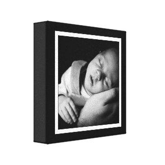 Mini lona del bebé blanco y negro intrépido impresion de lienzo