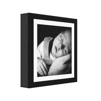 Mini lona del bebé blanco y negro intrépido impresión en lona estirada
