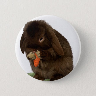 Mini Lop Bunny and carrot Button