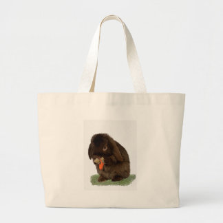 Mini Lop Bunny and carrot Large Tote Bag