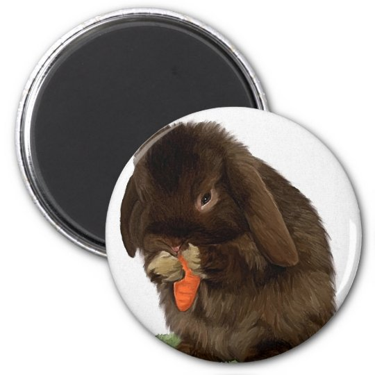 Mini Lop Bunny and carrot Magnet