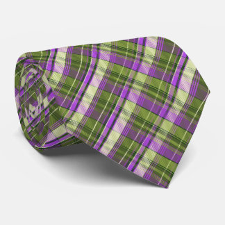 Mini Madras Plaid Olive and Purple Two-Sided Neck Tie