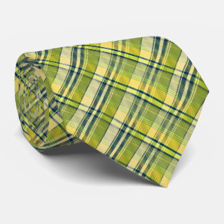 Mini Madras Plaid Sage and Yellow Two-Sided Neck Tie