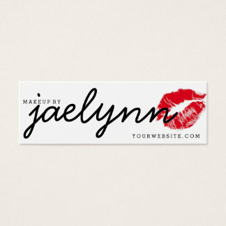 Mini Makeup artist business card red xoxo lips