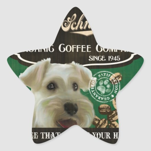 Mini marca del Schnauzer - Organic Coffee Company Pegatina En Forma De Estrella