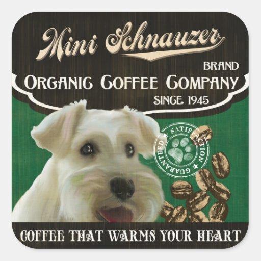 Mini marca del Schnauzer - Organic Coffee Company Pegatina Cuadrada