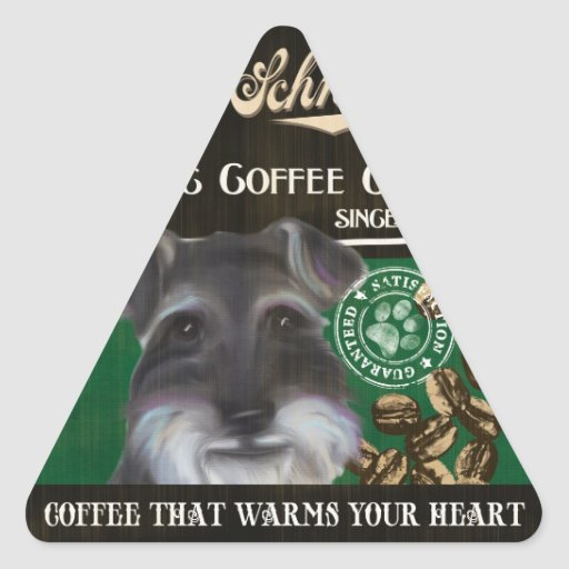 Mini marca del Schnauzer - Organic Coffee Company Pegatina Triangular