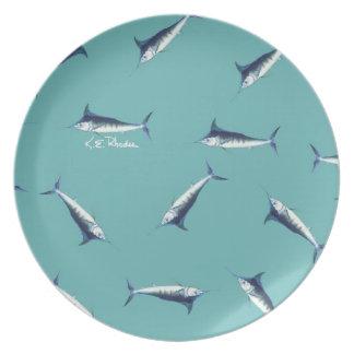 Mini Marlins on blue Plate