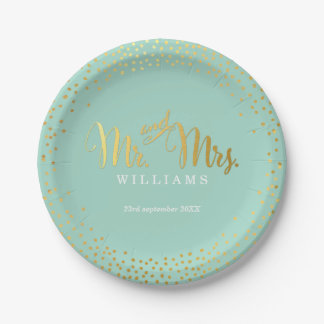 Mini menta del oro del confeti de la TABLA Plato De Papel De 7 Pulgadas