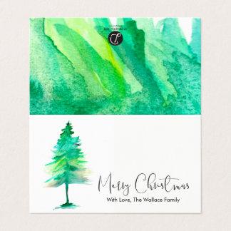 MINI -Merry Christmas, Watercolor Pinetree, Script Card