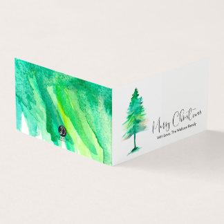 MINI- Merry Christmas, Watercolor Pinetree, Script Card