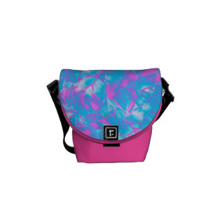 Mini Messenger Bag Grunge Art Floral Abstract