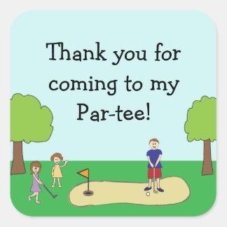 Mini Miniature Golf Birthday Favor Thank You Square Sticker
