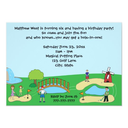 Mini miniature golf birthday party invitations zazzle mini miniature golf birthday party invitations filmwisefo