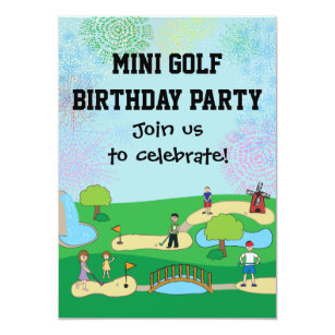 Golf birthday invitations zazzle mini miniature golf birthday party invitations filmwisefo