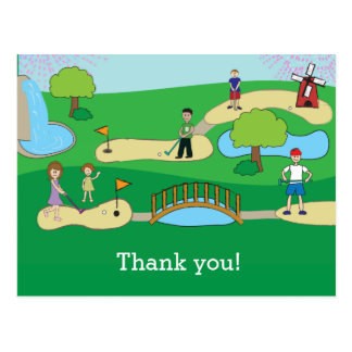 Mini Miniature Golf Birthday Thank You Postcard