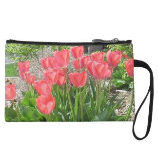 Mini monedero del embrague de los tulipanes rojos